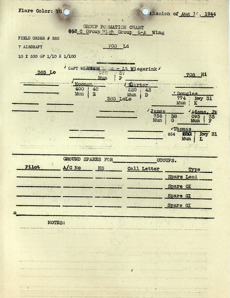 AUG 14 1944 FORMATION 3