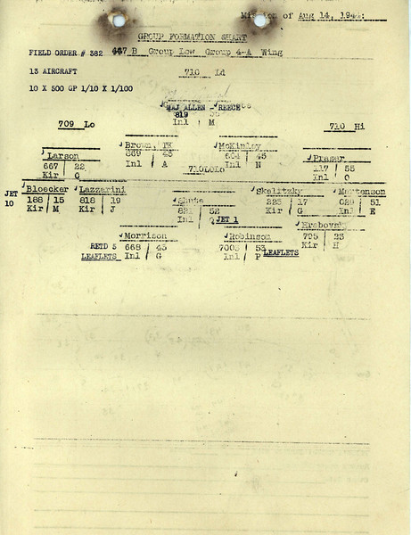 AUG 14 1944 FORMATION 2