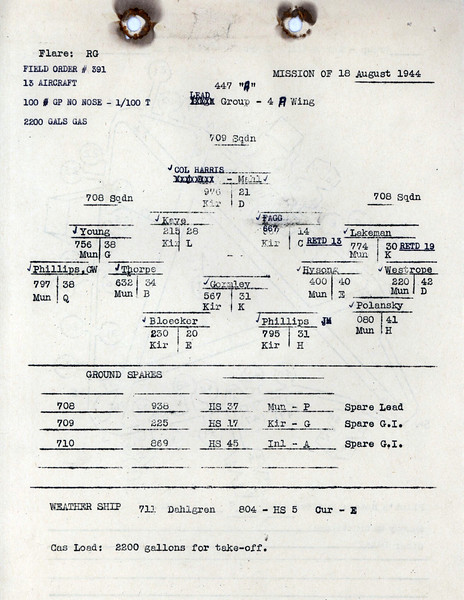 AUG 18 1944 FORMATION 1