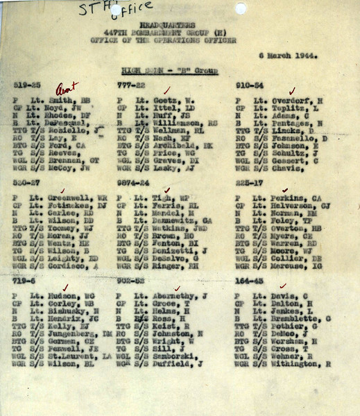 MARCH 6 1944 B GROUP HIGH