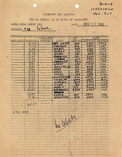 MARCH 13 1944 TAKEOFF
