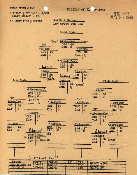MAY 31 1944 FORMATION 1