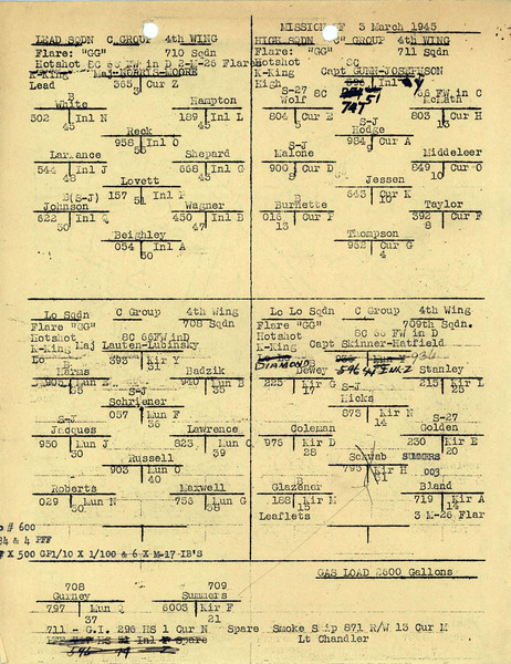 MARCH 3 1945  FORMATION