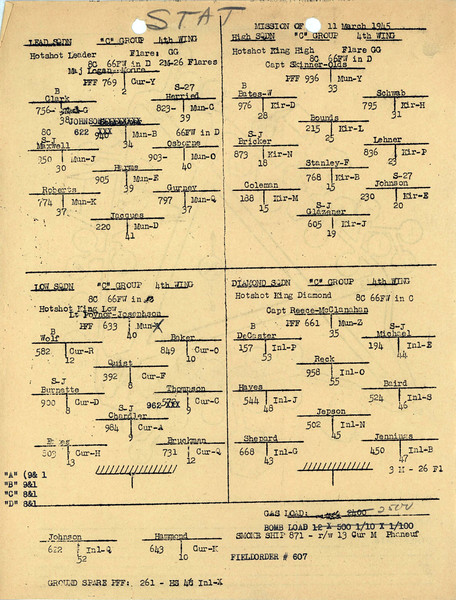 MARCH 11 1945  FORMATION