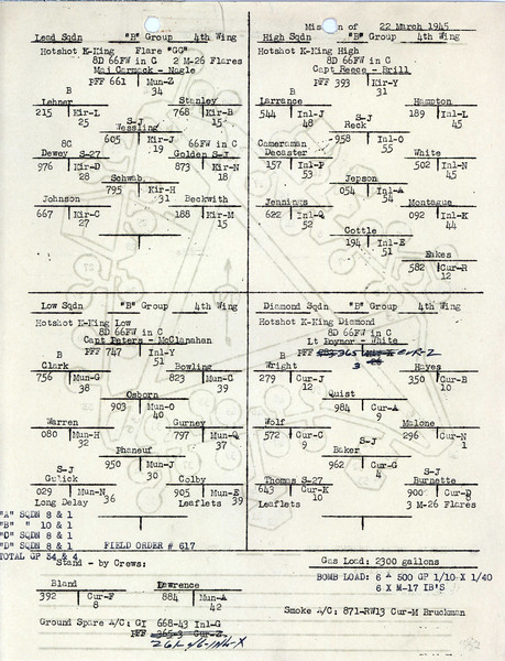 MARCH 22 1945  FORMATION