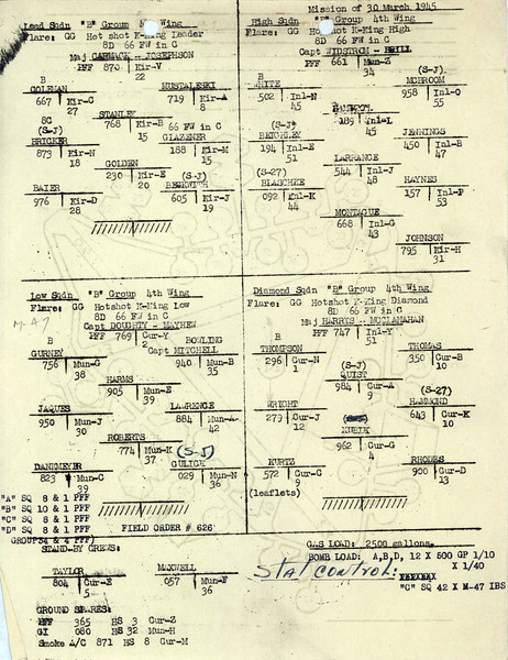 MARCH 30 1945  FORMATION