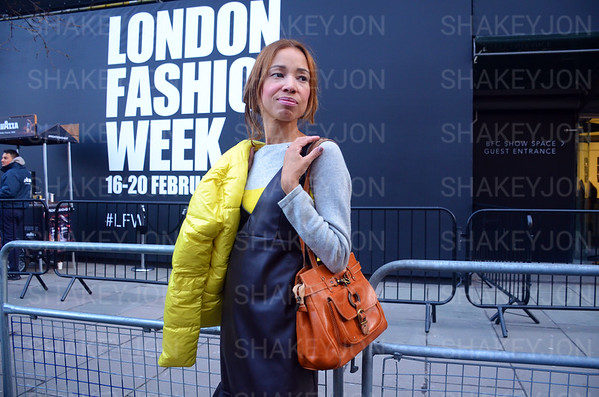 London, UK, Street fashion London Fashion Week 2018 February at the Strand BFC show space. Lydia Preston Sweeney attends - 16 February 2018