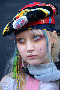 London, UK, Street fashion London Fashion Week 2018 February at the Strand BFC show space. - 16 February 2018