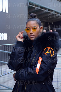 London fashion week, street fashion, arrivals at BFC on the Strand - 17 February 2018
