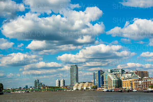 Blue skies over the Thames at Wandsworth.