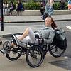 Recumbent bicycle passes Trafalgar Square.