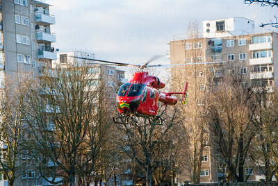 London air ambulance in action on Wandsworth Common.