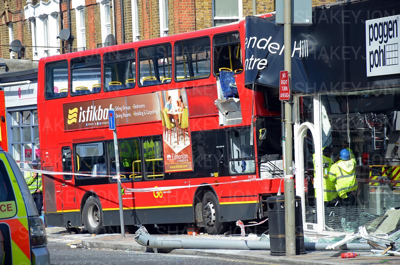 London, UK, Battersea -Bus crashes into furniture shop on Lavender Hill - 10/08/2017