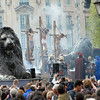 "Large crowds watch ""The Passion of Jesus""  in Trafalgar Square on Good Friday."