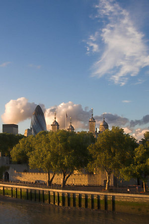 "The Tower of London and ""The Gerkin"" (or 30 St. Mary Axe)"