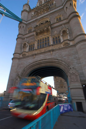 Double-Decker Bus under Tower Bridge London