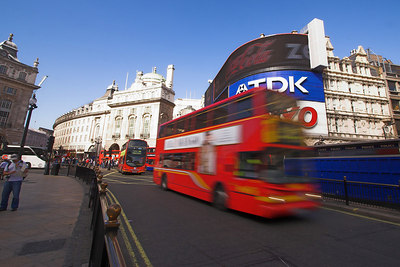 Double-Decker Buses at Piccadilly Circus London