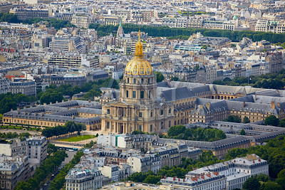 Aerial Paris skyline and Invalides