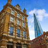 London shard view from old brick buildings