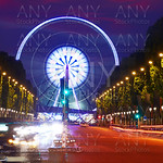 Champs Elysees in Paris and Concorde sunset