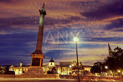 London Trafalgar Square sunset Nelson column