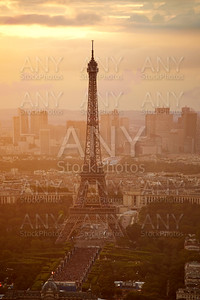 Eiffel Tower in Paris aerial sunset France