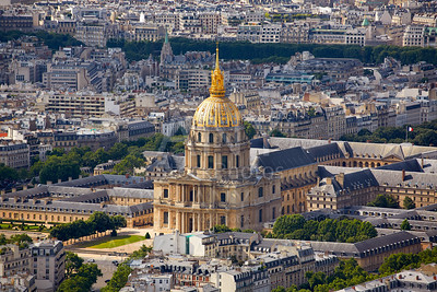 Aerial Paris skyline and Invalides France