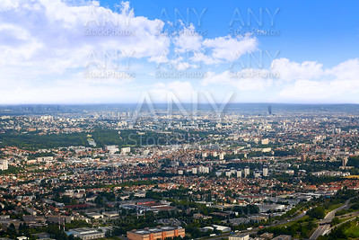 Paris aerial view with Eiffel tower France