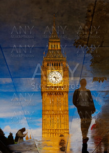 Big Ben Clock Tower puddle reflection London