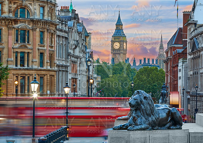 London Trafalgar Square lion and Big Ben