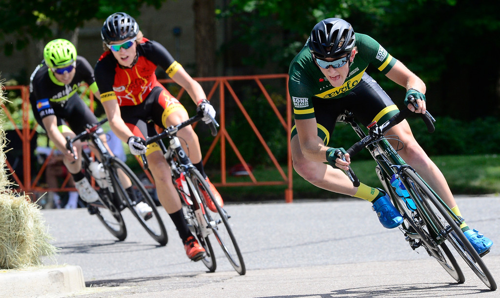 . Brannon Fix leans into a corner in the Senior Pro Men\'s Level 1-2-3 in the 31st Annual Longmont Criterium  on Sunday.  For more photos go to timescall.com Paul Aiken Staff Photographer July 9, 2017