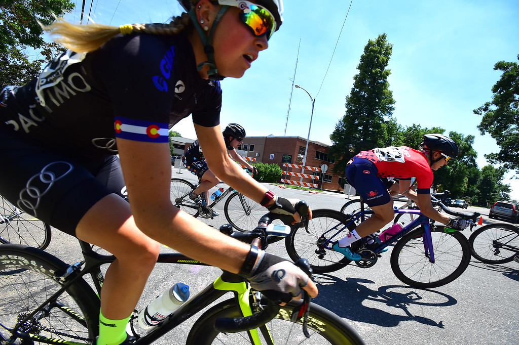 . Charlotte Backus in a corner in her Senior Women\'s Pro Level 1-2-3 race during the 31st Annual Longmont Criterium  on Sunday. For more photos go to timescall.com Paul Aiken Staff Photographer July 9, 2017