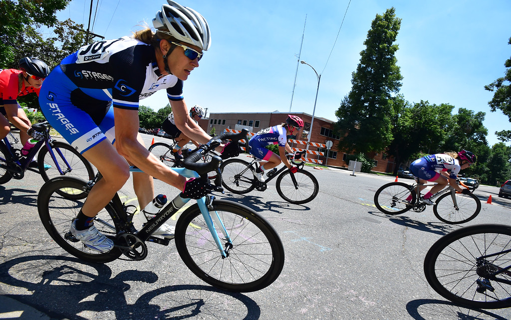 . Gwen Inglis leans into a corner in the Senior Women\'s Pro Level 1-2-3 race during the 31st Annual Longmont Criterium  on Sunday. For more photos go to timescall.com Paul Aiken Staff Photographer July 9, 2017