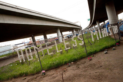 FRESNO, CA--- FRESNO, CA--- Ray Polk placed cups in a fence to advertise what he does as a homeless man ministering to the homeless. Ray Polk is a one-man homeless shelter and provides food, clothing, counseling, shelter, and recently has erected a memorial under the Highway 41overpass in an encampment in South Fresno to honor the homeless  who have passed away. Polk has made 77 markers  and has plans to make 23 more.  Polk can tell  a story about how each of those memorialized met their demise. Polk has erected signs with bible verses on them which surround his encampment.