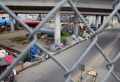 FRESNO, CA--- The homeless camp on G Street under a Highway 41 overpass in South Fresno. Most of the homeless in Fresno make their abode in and around the area.