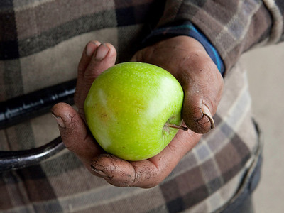 FRESNO, CA--- The cracked fingers of Julian Fernandez hold an apple given to him by Ray Polk.  Polk erected a memorial under the Highway 41 overpass in an encampment in South Fresno to honor the homeless who have passed away. There are 77 markers with plans for  23 more.