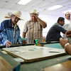 MENDOTA,CA---MENDOTA DROUGHT 10 --- Los KiKis pool hall is where many of the unemployed go to play cards and shoot pool in the town of Mendota.  Mendota has a population of 10,000 and has an unempolyment rate of 35%.  Andres Uriel,lf and Johno (ck) Torres play cards in the pool hall. Photo By Tomas Ovalle
