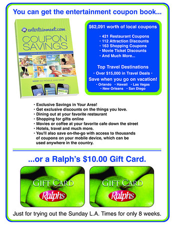 ENTERTAINMENT BOOK/RALPH'S CARD PROMO PIECE