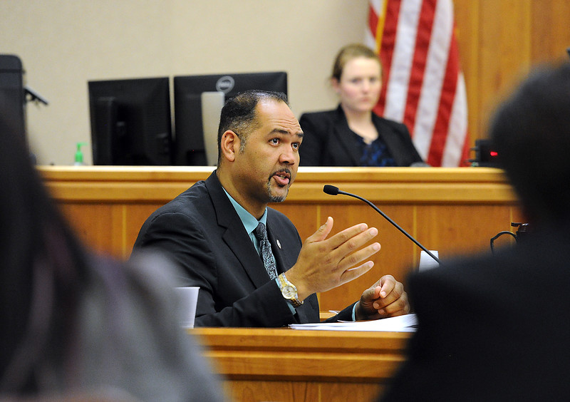 Loveland Police Detective Rob Pride testifies Wednesday, April 27, 2016, during the Brian Koopman trial at the Larimer County Justice Center in Fort Collins. Koopman, a Loveland Police detective, faces a charge of attempting to influence a public servant in connection with his investigation and prosecution of Leroy Wallace in a homicide case in 2013.  (Photo by Jenny Sparks/Loveland Reporter-Herald)