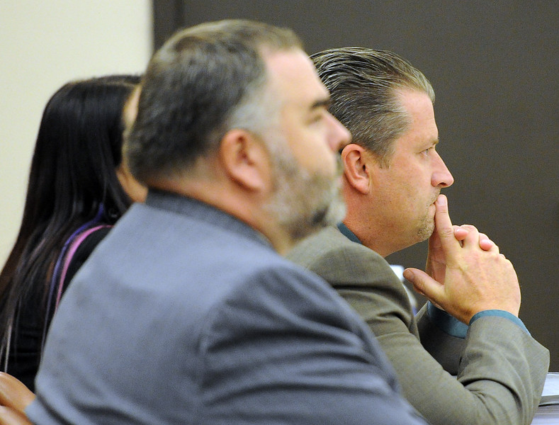 Loveland Police detective Brian Koopman awaits the verdict in his trial Thursday, April 28, 2016, at the Larimer County Justice Center in Fort Collins. Koopman was acquitted on a charge alleging attempting to influence a public servant in connection with his investigation and prosecution of Leroy Wallace in a homicide case in 2013.  (Photo by Jenny Sparks/Loveland Reporter-Herald). (Photo by Jenny Sparks/Loveland Reporter-Herald)