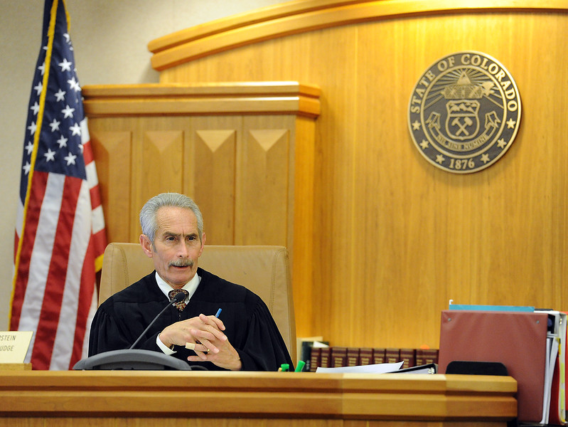 Judge Scott Epstein speaks to the jury Thusday, April 28, 2016, moments after they acquitted Loveland Police detective Brian Koopman at the Larimer County Justice Center in Fort Collins. Koopman was acquitted on a charge alleging attempting to influence a public servant in connection with his investigation and prosecution of Leroy Wallace in a homicide case in 2013.  (Photo by Jenny Sparks/Loveland Reporter-Herald). (Photo by Jenny Sparks/Loveland Reporter-Herald)