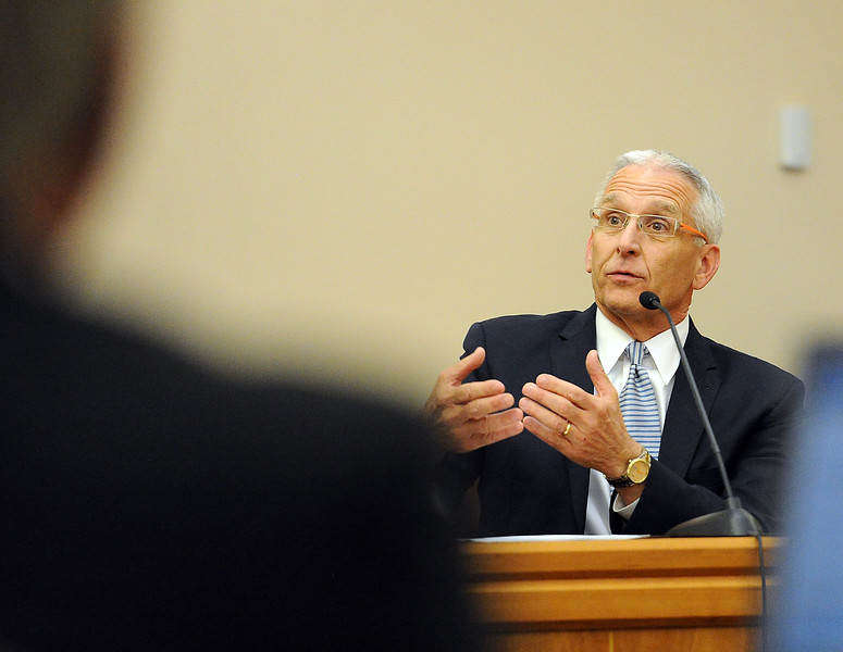Cliff Riedel, 8th Judicial District Attorney, testifies Wednesday, April 27, 2016, during the Brian Koopman Trial at the Larimer County Justice Center in Fort Collins. Koopman faces a charge of attempting to influence a public servant in connection with his investigation and prosecution of Leroy Wallace in a homicide case in 2013.  (Photo by Jenny Sparks/Loveland Reporter-Herald)