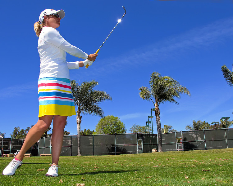 21 MAR 12  Diana D'Alissio works on her whort game before  Wednesdays Pro-Am at The KIA Classic at La Costa Resort and Spa in La Costa, California.