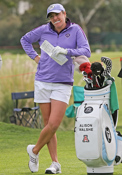 24 MAR 12  Alison Walsh pauses for a snack during Saturdays Third Round of The KIA Classic at La Costa Resort and Spa in La Costa, California.
