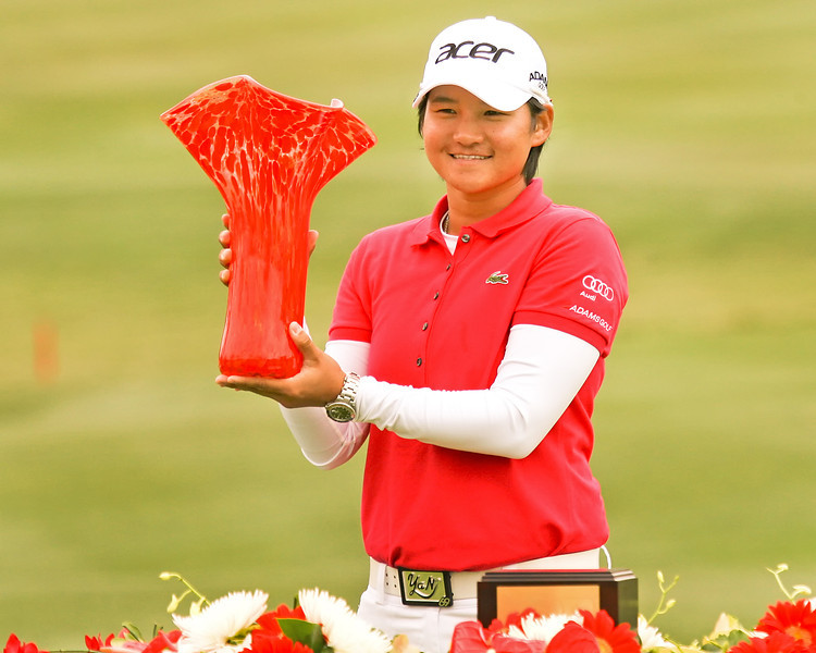 24 MAR 12 Yani Tseng holds the winners trophy at the conclusion of Sundays Final Round of The KIA Classic at La Costa Resort and Spa in La Costa, California.