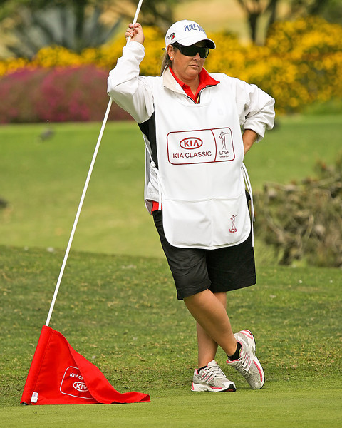 24 MAR 12 LPGA player turned caddie Michelle Farrigut in action during Sundays Final Round of The KIA Classic at La Costa Resort and Spa in La Costa, California.