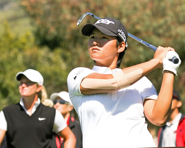 22 MAR 12 Suzan Peterson looks on as Yani Tseng hits her tee shot on number 8 duringThe First Round of The KIA Classic at La Costa Resort and Spa in La Costa, California.