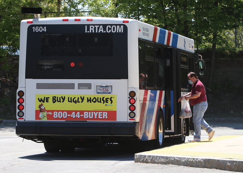 Lowell Regional Transit Authority terminal in Lowell. LRTA has received a grant to help with COVID-19 related expenses and lost revenue. Passengers now board through the rear doors of buses for distancing from drivers, and no fares are collected.(SUN/Julia Malakie)