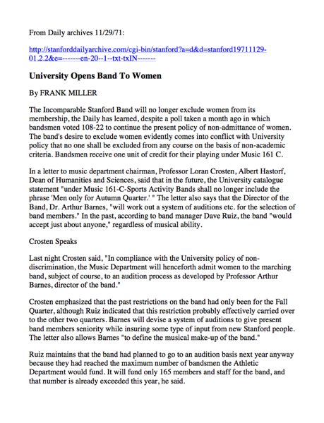 More legible version of preceding article Women joining Band - with hotlink following
