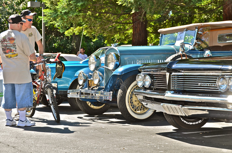 "Lamorinda Sunrise Rotary's second annual ""Motorama ~ World of Wheels,"" Father's Day, June 19. 2011. Vehicles exhibited in Postino/Clocktower parking lot, Mount Diablo Boulevard, Lafayette. Besides vintage automobiles and trucks, motorcycles and bicycles also were on display. All net proceeds fund a variety of local community service projects undertaken yearly by Lamorinda Sunrise Rotary, founded in 1987."